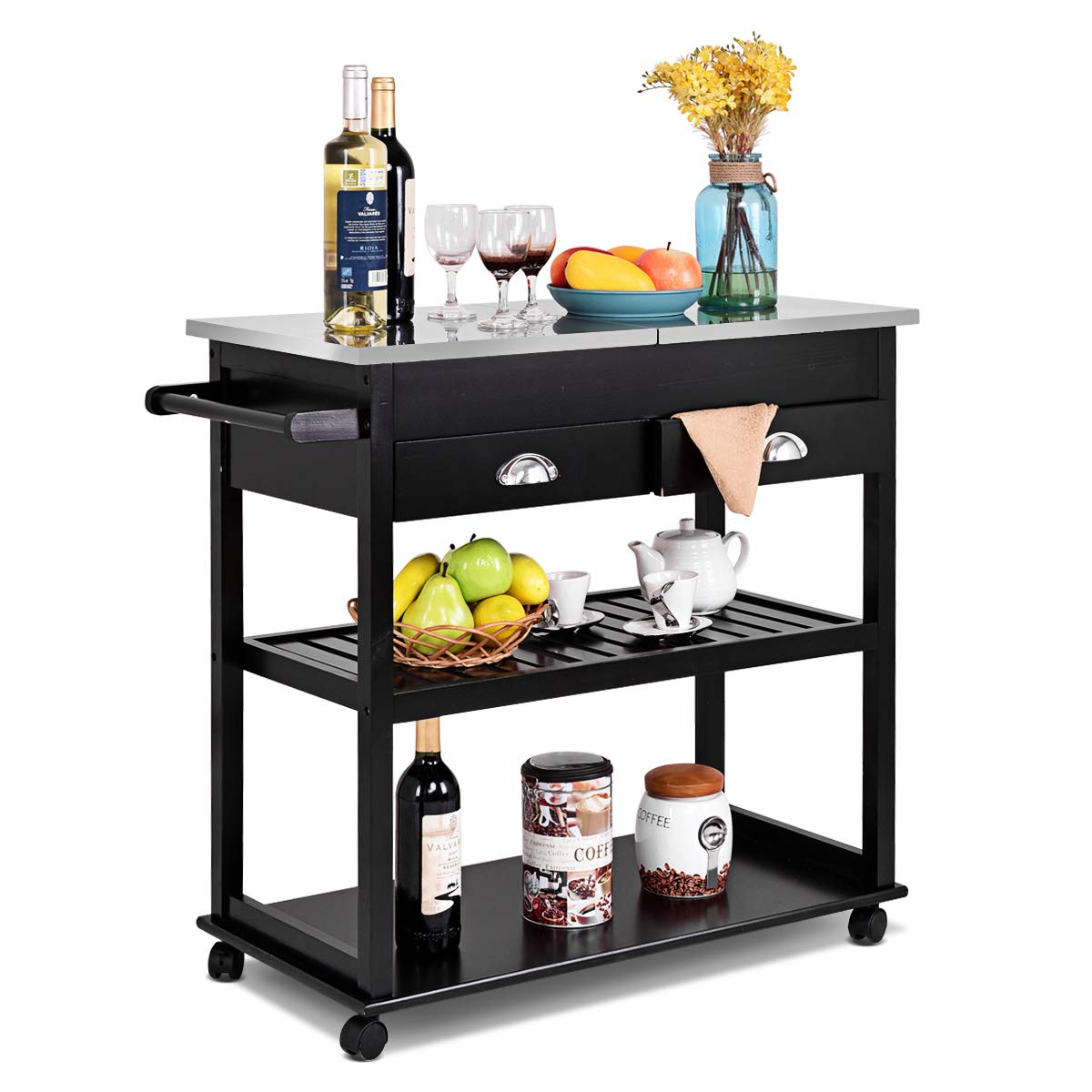 Giantex Rolling Kitchen Trolley Cart Stainless Steel-Flip Top W/Drawers &Casters