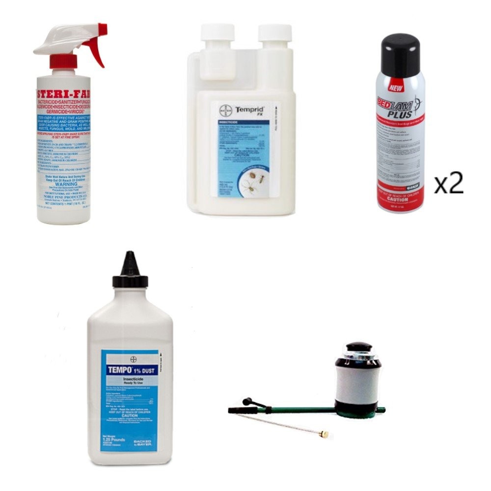 Bed Bug Control Kit with Temprid (2) Bedlam Plus Sterifab Tempo Dust Bellows Hand Duster