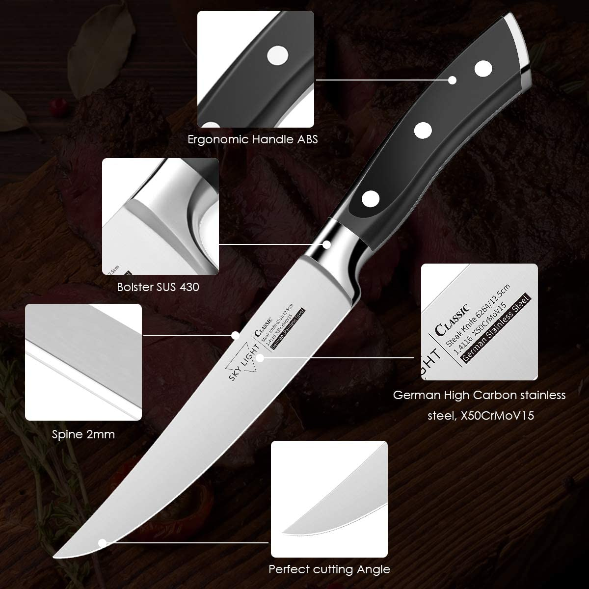 SKY LIGHT 4-Pcs Steak Knives
