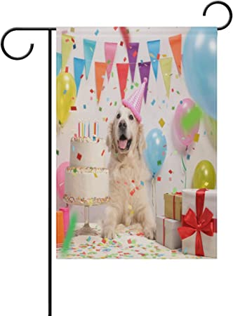Marvelous Amazon Com Yuihome Dog With A Birthday Cake Spring Garden Flag Personalised Birthday Cards Paralily Jamesorg