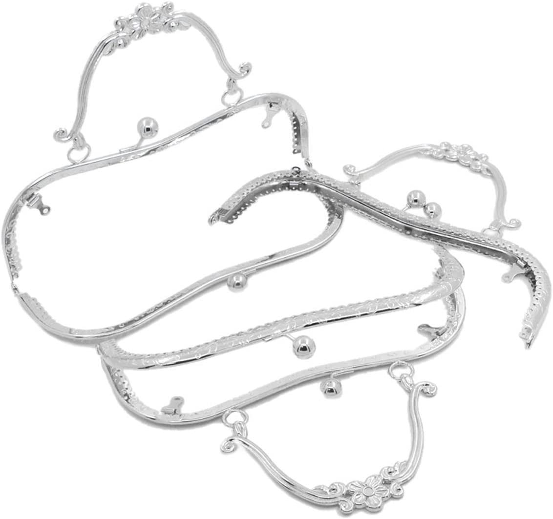 8 2//8 x3 4//8 HOUSWEETY Metal Frame Kiss Clasp Lock Arch for Purse Bag Silver Tone 1pc Approx:21cm x9cm