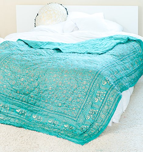 Ankit Indian Elephant Green Gold Boho 80 X 50 Inches Quilt Handmade  Designer  100  Cotton  Exotic Colors
