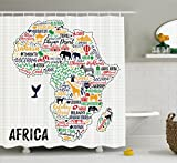 Ambesonne Quote Shower Curtain, Colorful Lettering of African Countries in Africa Continent with Animals Art Print, Fabric Bathroom Decor Set with Hooks, 70 Inches, Multicolor