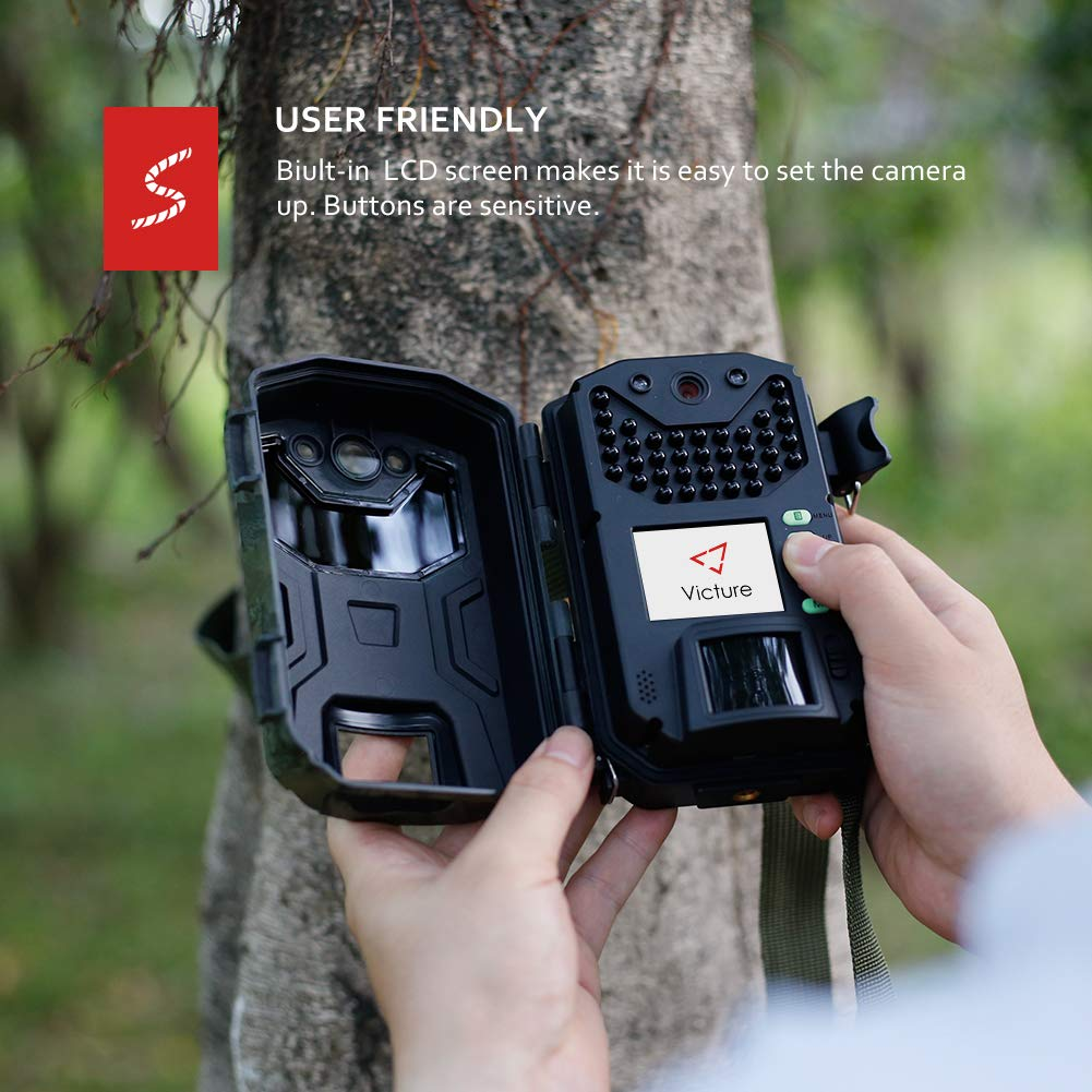 Victure Trail Camera 16MP 1080 HD 2.0'' LCD Game Cam Night Vision Motion Activated with Upgrade Waterproof Design 38Pcs IR LEDs No Glow for Wildlife Hunting and Surveillance by Victure (Image #7)