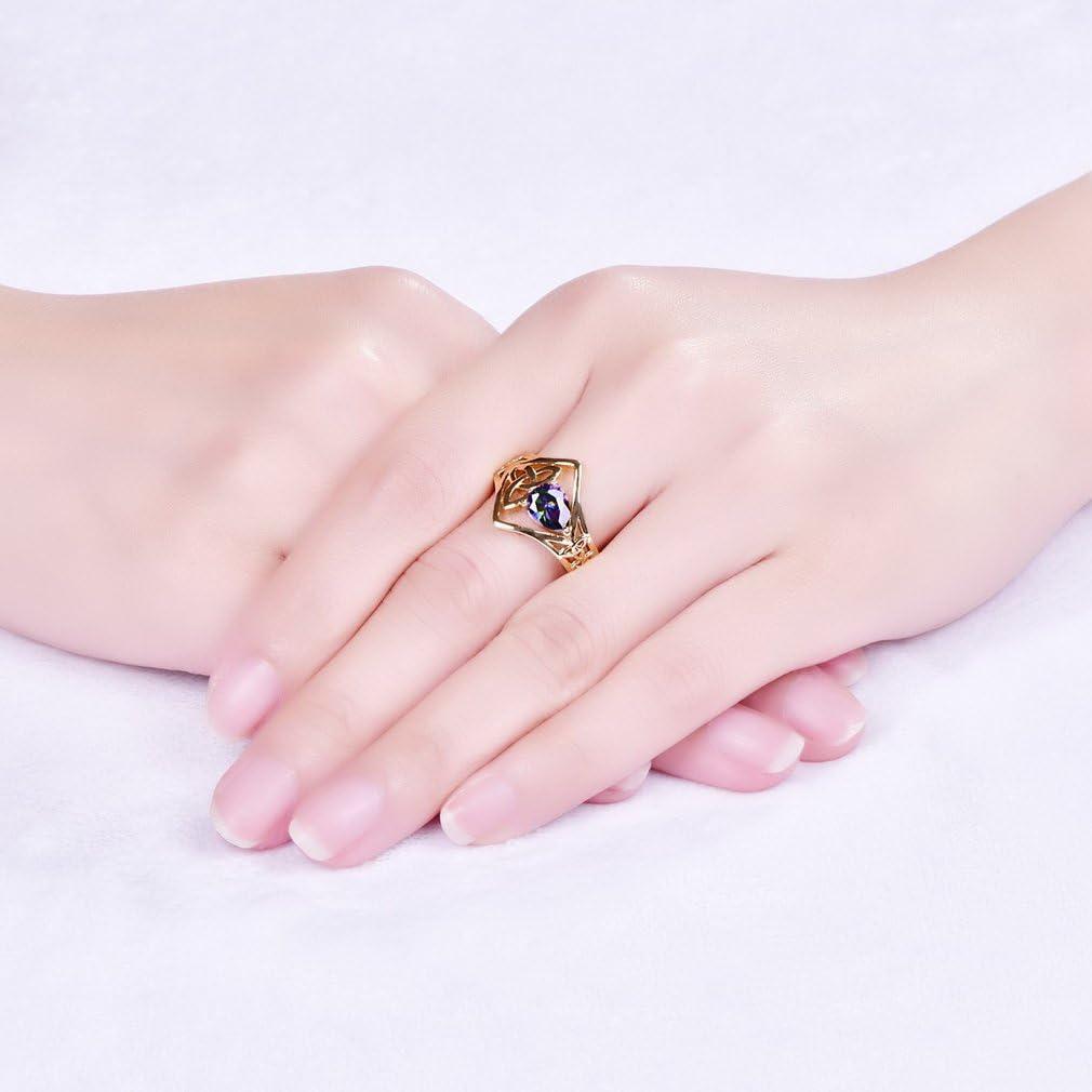 Yazilind Ovale zircone Anneaux Creux Forme plaqu/é Or Engagement pour Les Femmes
