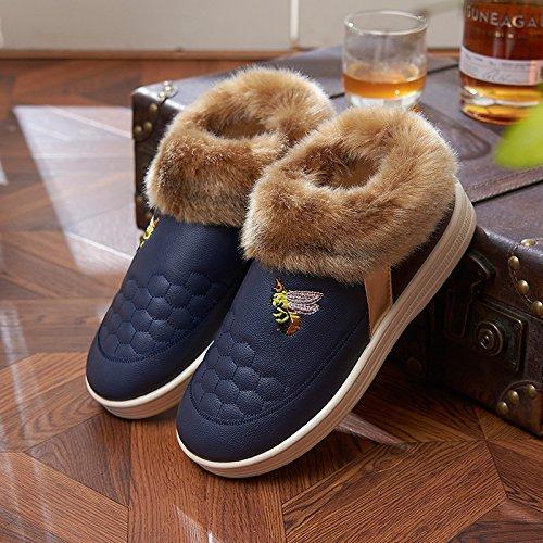 Fankou inverno felpa con in pelle waterproof paio di pantofole di cotone uomini e donne indoor e outdoor indossare caldo antiscivolo home spessa, 43-44 per il normale 41-42 piedi, blu scuro i modelli