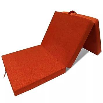 WEILANDEAL Colchon de Espuma Plegable 190 x 70 x 9 cm Naranja Cubre colchon impermeableIncluye un asa de Tela para facilitar el Transporte: Amazon.es: Hogar