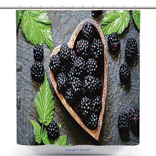 Parrot Blackberry Curve - vanfan-Cool Shower Curtains Blackberries in Bowl in The Shape A Heart A Top View Polyester Bathroom Shower Curtain Set Hooks(70 x 84 inches)