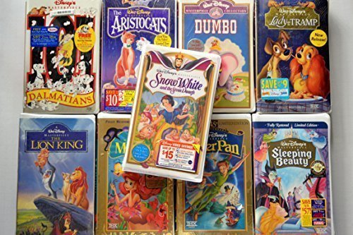 Disney Masterpiece Collection, Set of 9 Vhs: 101 Dalmatians, Aristocats, Dumbo, Lady & the Tramp, the Lion King, the Little Mermaid, Peter Pan, Sleeping Beauty & Snow White and the Seven Dwarfs [VHS]