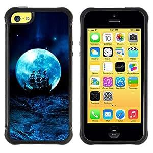 BullDog Case@ Moon Blue Storm Ocean Ship Sails Rugged Hybrid Armor Slim Protection Case Cover Shell For iphone 5C CASE Cover ,iphone 5C case,iphone5C cover ,Cases for iphone 5C