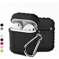 TERSELY Apple AirPods Silicone Waterproof Case Shock Proof Protecitive Cover, Resistant Cover Case for Apple AirPods with Locking Carabiner, Holder Keychain - Black