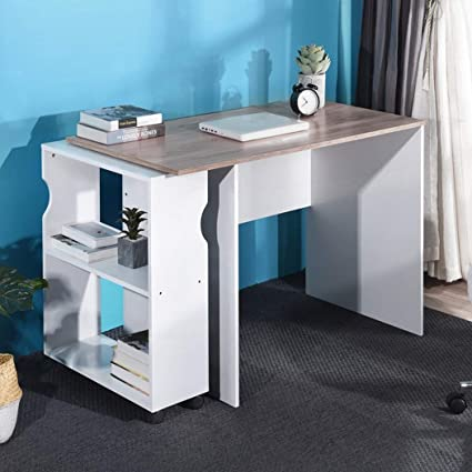 Aingoo Modern White Computer Desk With Mobile Bookshelf 47 X23inch Large Study Writing Table Contemporary Home