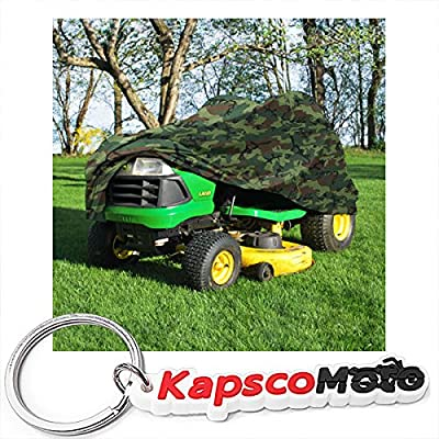 """North East Harbor Deluxe Riding Lawn Mower Tractor Cover Fits Decks up to 54"""" - Camouflage - Water, Mildew, and UV Resistant Storage Cover + KapscoMoto Keychain"""