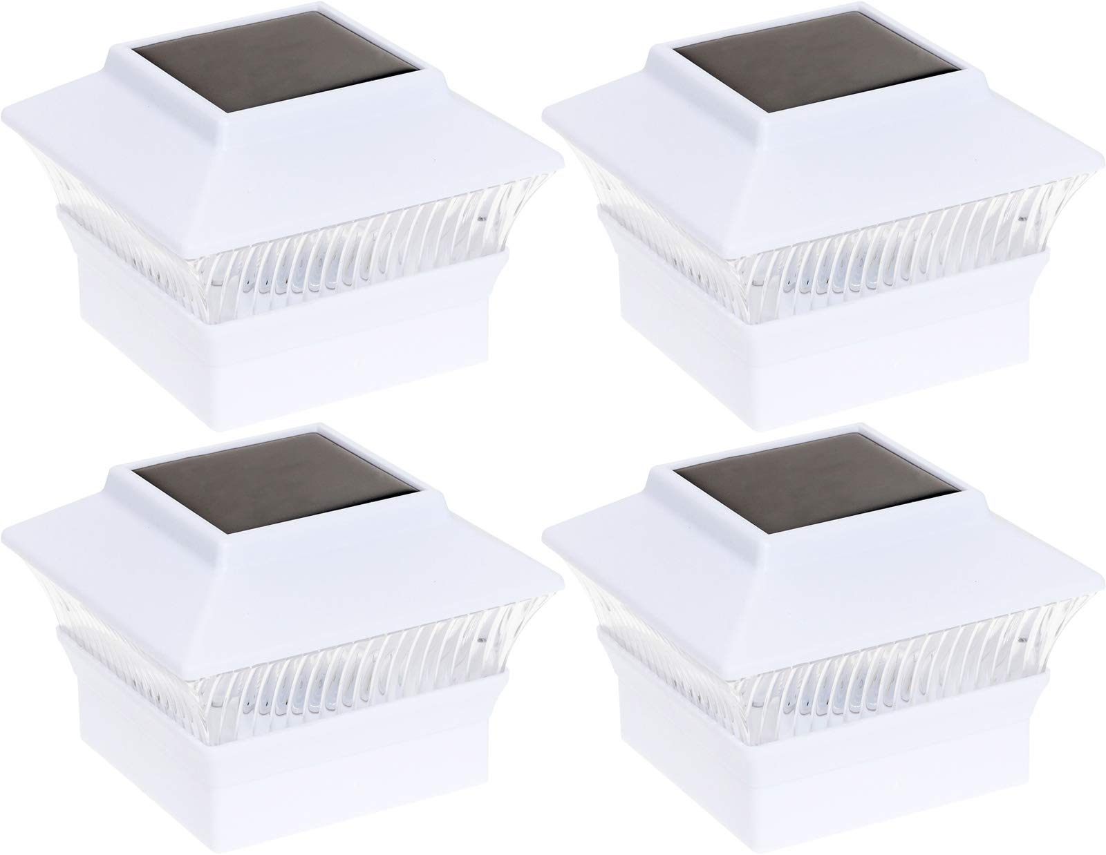 GreenLighting 4 Pack Solar Power Square Outdoor Post Cap Lights for 4x4 PVC Posts (White) by GreenLighting
