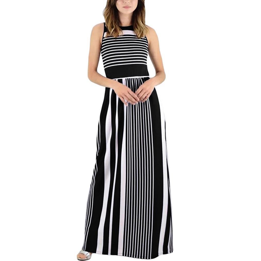 Vestido largo de verano para mujer - Saihui Casual suelto Boho rayas ...