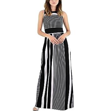 a4a56985ad Vestido largo de verano para mujer - Saihui Casual suelto Boho rayas sin  mangas cintura alta Maxi vestidos con bolsillo medium negro  Amazon.es   Hogar