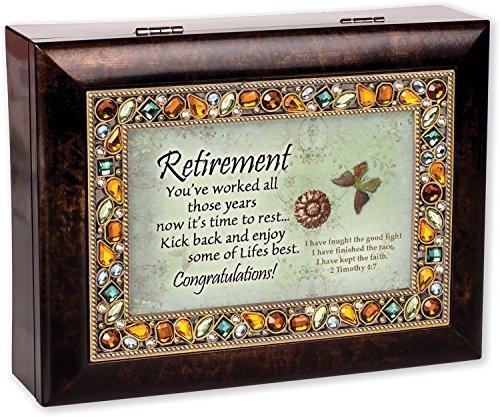 (Retirement Burlwood Finish Jeweled Lid Jewelry Music Box Plays Tune Amazing)
