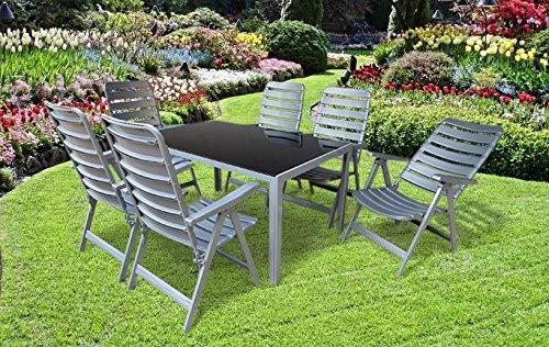 7-teilige absolut wetterfeste Gartenmöbelgruppe RIO, 6 Klappsessel MADE IN GERMANY Poel und ein Gartentisch 140x90 in silber, aus dem Hause MFG und Dacore
