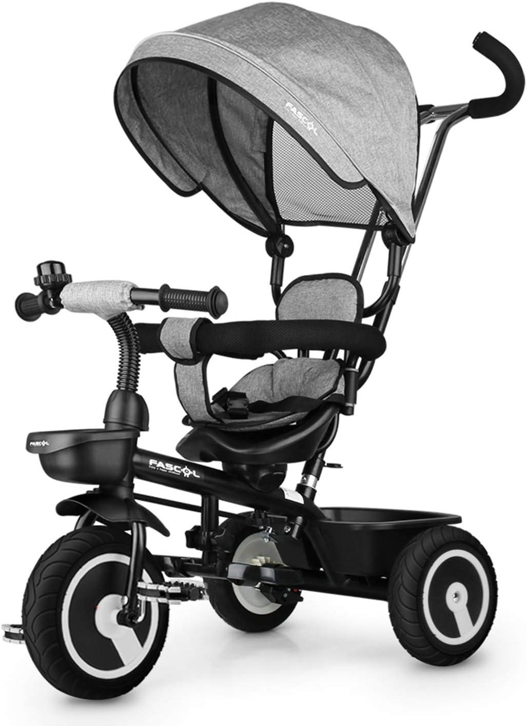 Fascol 7 en 1 Triciclo Bebe con Asiento Giratorio y Ruedas de Gomas, Versión Mejorada Trike para Niños de 12 Meses a 5 Años , Gris
