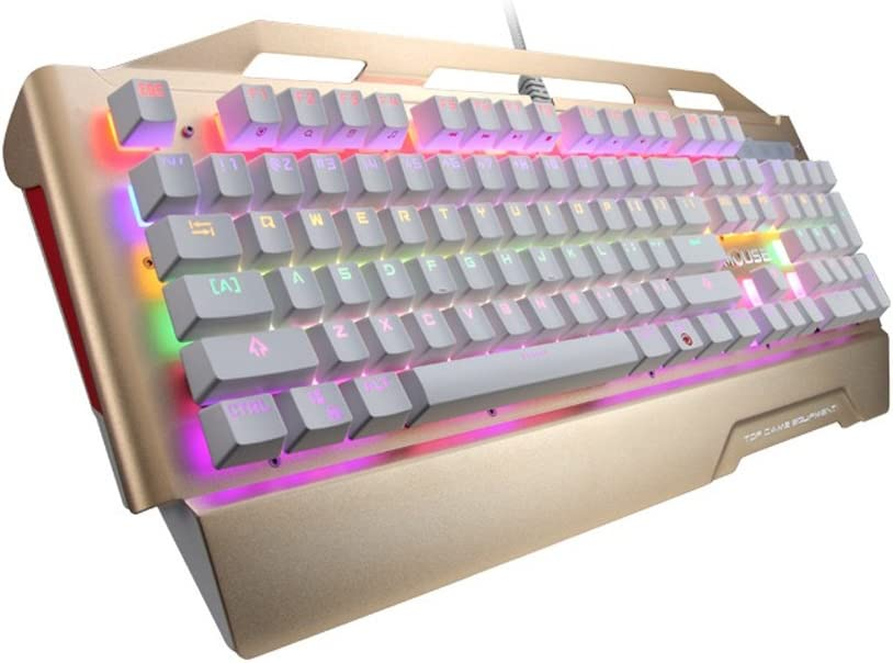 Color : Gold ZYDP RGB Gaming Keyboard USB Wired Keyboard Backlit Computer Keyboard