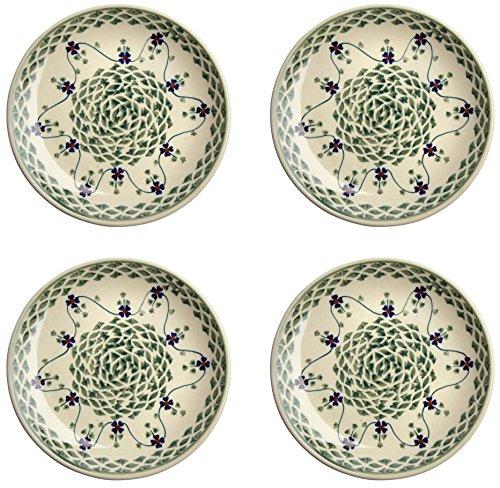 (Polish Pottery Basketweave Handmade Salad/Dessert Plate, Blue Green Floral, 7-Inch (Set of 4))