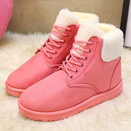 Fiaya Womens Classic Snow Boot Winter Suede Flat Warm Plush Insole Lace-Up Ankle Boots (Pink, US:6.5): Amazon.com: Grocery & Gourmet Food
