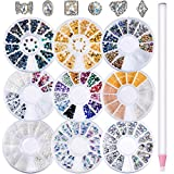 Bememo 9 Boxes Nail Art Rhinestones Nail 3D Bead Stone Decoration with 6 Pieces Shining Diamond Rhinestone and 1 Piece Rhinestone Picker for Nails (Style 1)
