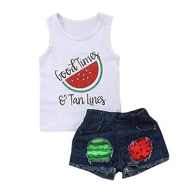 8b91740cb Amazon.com: Baby Short Sets, Fineser Toddler Kids Girls Sleeveless Letter Watermelon  Print Vest Tops+Ripped Denim Shorts Outfits: Clothing