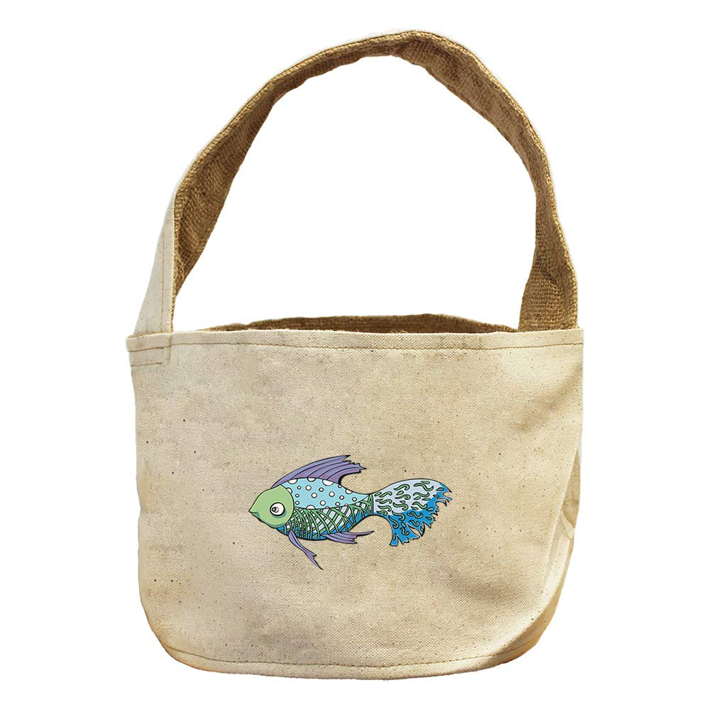 Style in Print Tropical Fish Blue Purple Fins Animals Canvas and Burlap Storage Basket
