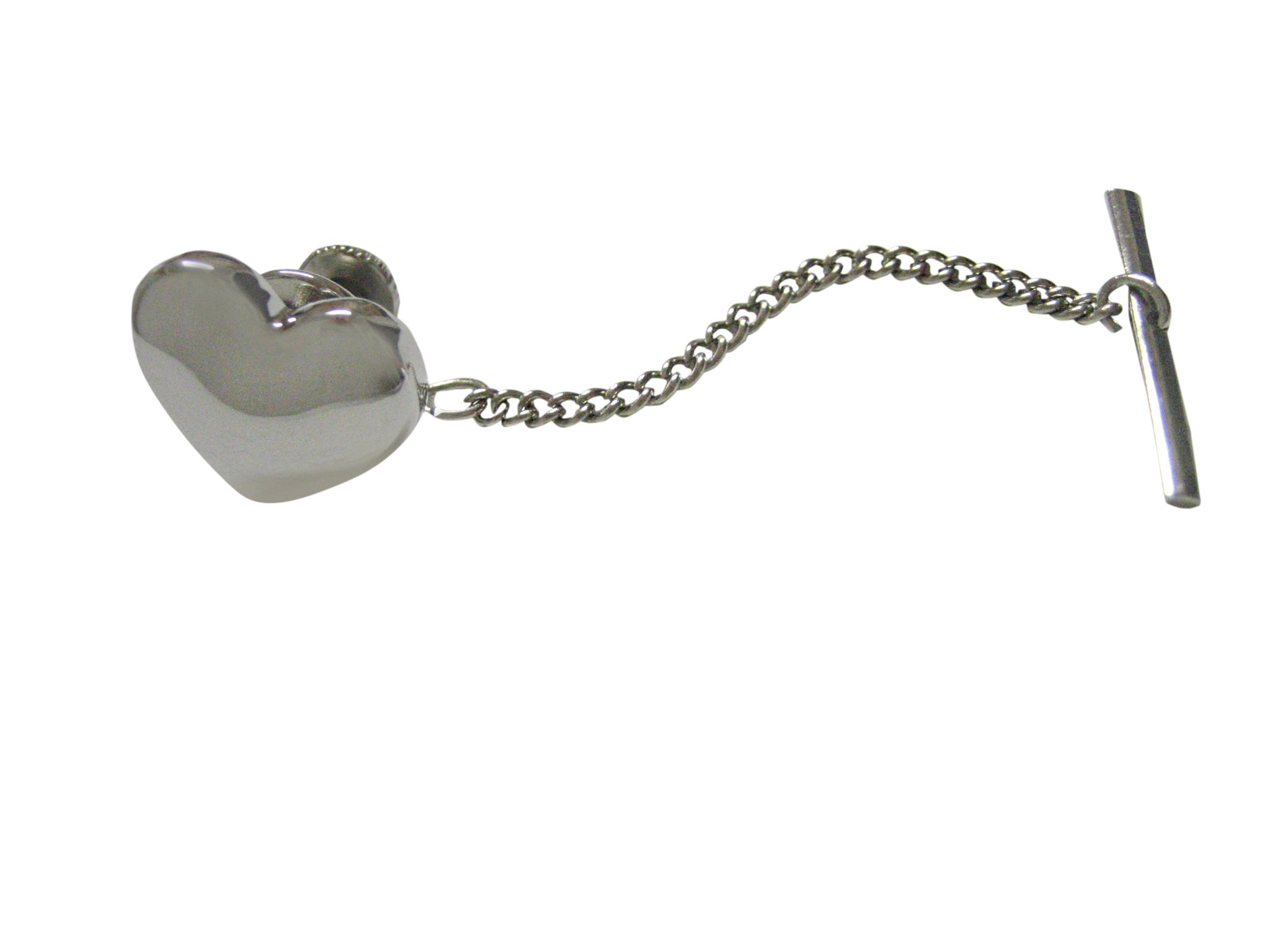 Silver Toned Curved Heart Wedding Tie Tack