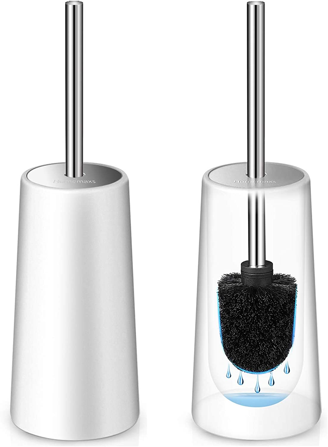 Amazon Com Homemaxs Toilet Brush And Holder 2 Pack Heavy Duty 2021 Upgraded Stainless Steel Length Handle Toilet Bowl Brush Set 4 4x4 4x16 5 Inches Durable Shed Free Scrubbing Bristles Discreet Wand Stand Home