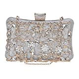 Tanpell Womens Crystal Evening Clutch Bag Wedding Purse Bridal Prom Handbag Party Bag Silver