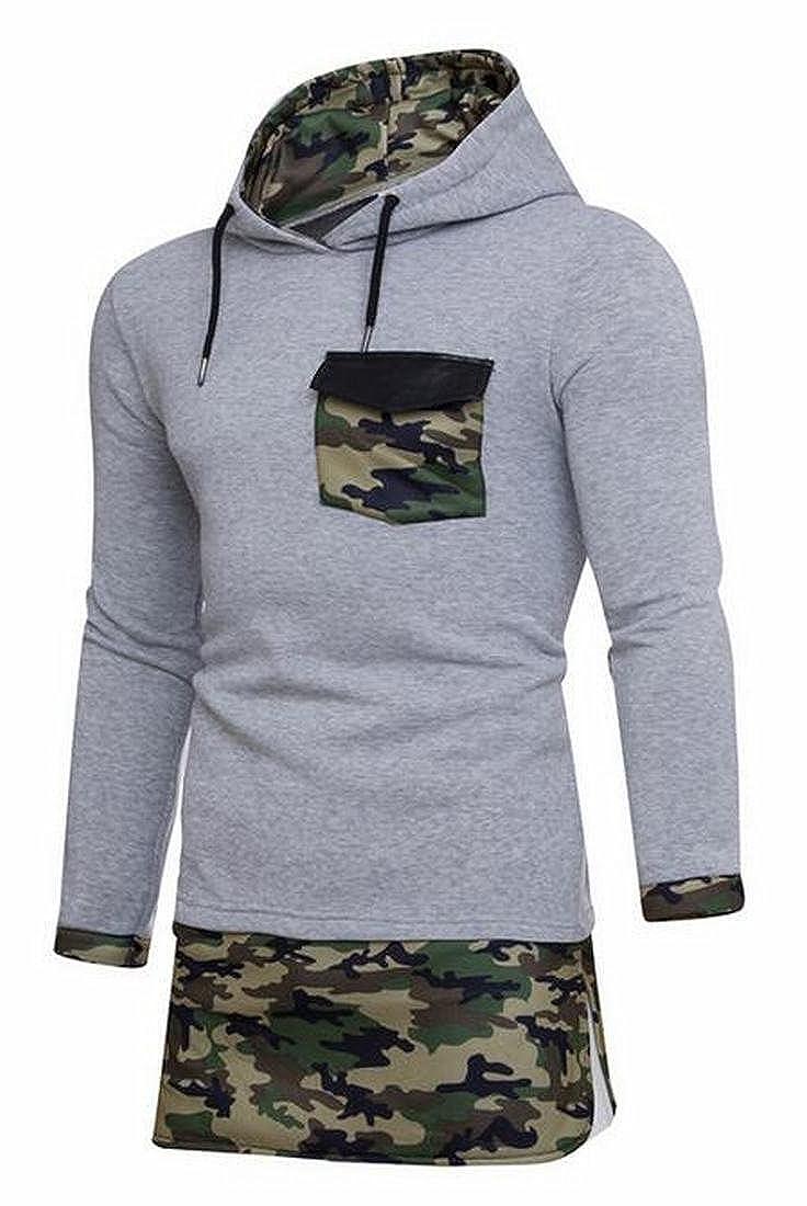 Zantt Mens Fashion Camo Contrast Hoodies Longline Pullover Sweatshirts