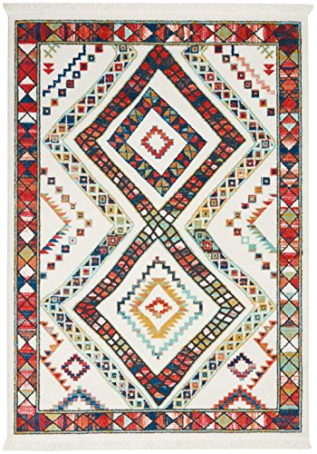 "Nourison Tribal Decor TRL02 Traditional Colorful White Area Rug 6 Feet 7 Inches by 9 Feet 7 Inches, 6'7""X9'7"""