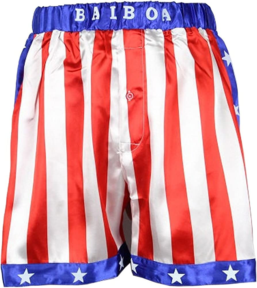 Rocky Balboa Mens Apollo Movie Boxing American Flag Shorts Trunks Boxers Boxer: Clothing