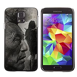 Paccase / SLIM PC / Aliminium Casa Carcasa Funda Case Cover para - Popular Native American Indian Man Art Nature Hair - Samsung Galaxy S5 SM-G900