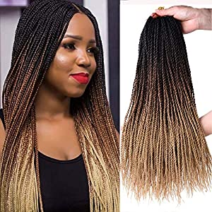 18 Inch 8Packs Senegalese Twist Hair Crochet Braids 30Stands/Pack Synthetic Braiding Hair Extensions for Black Women… (18″ 8packs, 1b/30/27)