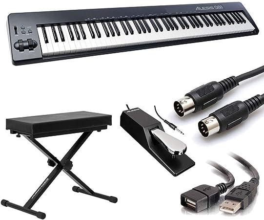 Alesis Q88 | Controlador de teclado USB/MIDI de 88 teclas con ruedas Pitch & Mod + banco + pedal de sostenimiento