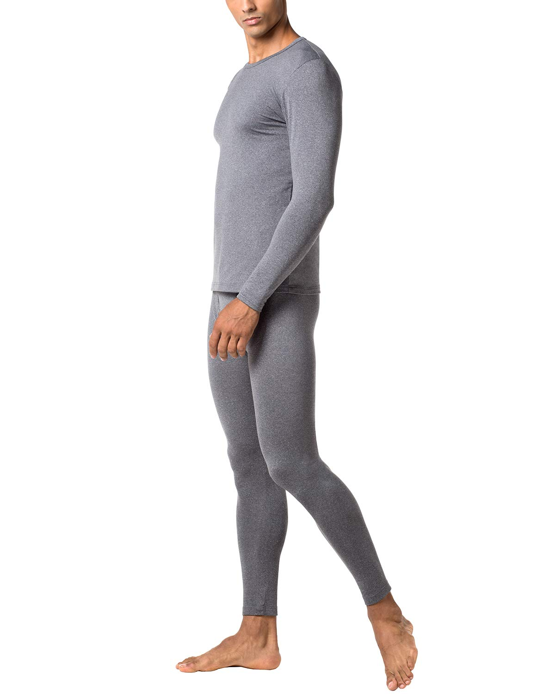 LAPASA Men's Lightweight Thermal Underwear Long John Set Fleece Lined Base Layer Top and Bottom M11 (Small, Dark Grey) by LAPASA