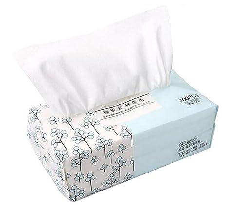 ericotry Toalla facial de algodón suave, almohadillas de algodón desechables para limpieza facial para piel