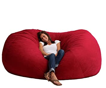 Giant Memory Foam Bean Bag Chair Vibrant Red 7 Foot XXL Microfiber Suede Material Game Room
