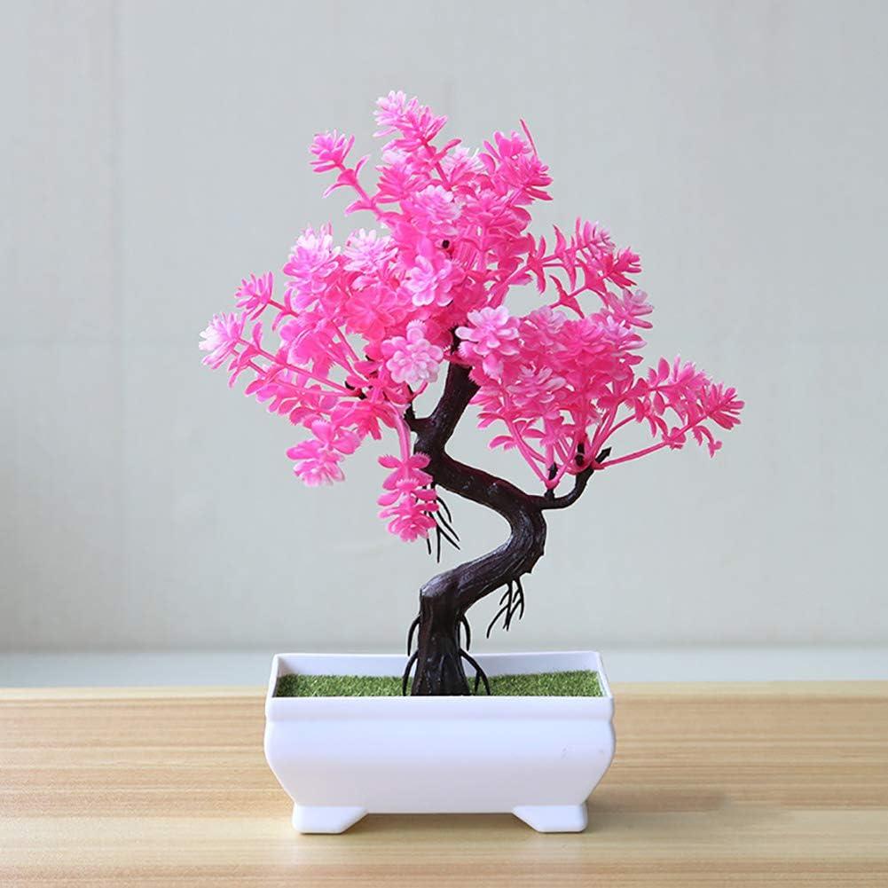 Geminimall Gemini/_mall Artificial Bonsai Tree Potted Bonsai Simulation Decorative Artificial Flowers Fake Green Pot Plants Ornaments Home Decor Table Centerpieces Pink