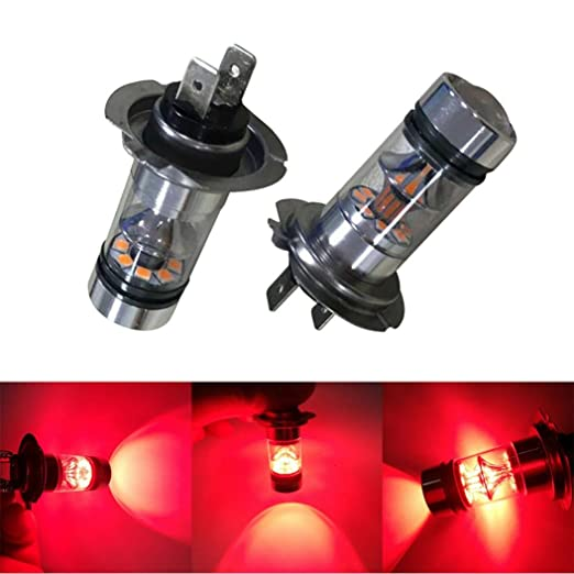 Amazon.com: Voberry 2PCS H7 100W 20LED HID 2323 Fog Driving DRL Light Bulbs (Red): Musical Instruments