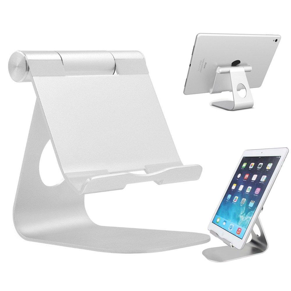 iPad Tablet Stand Adjustable Aluminum Metal Phone Holder - Rotatable Aluminum Desktop Stand Tablet Holder Dock for iPad Pro 9.7, Air 2 3 4 Mini, Kindle, Nexus, Tab, E-Reader,Android Tablets