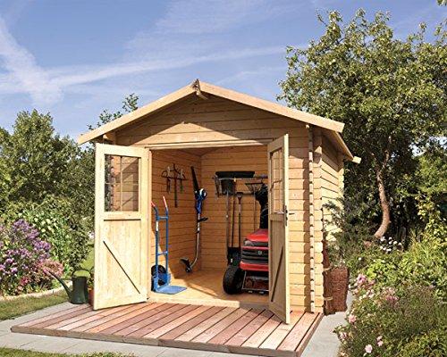 Karibu Woodfeeling Gartenhaus Ringsheim 4 natur Blockbohle 28 mm