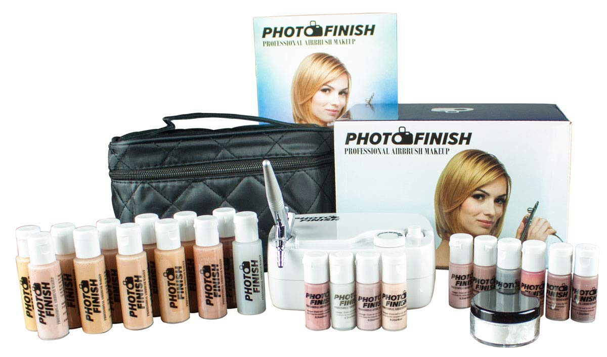 Photo Finish Professional Airbrush Cosmetic Makeup Deluxe System Kit Master Set/Fair to Tan Shades (Matte Finish)