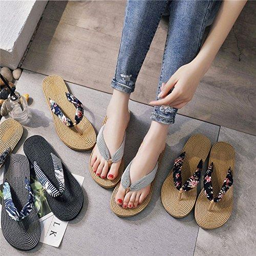 Desmenuzada Flip Y Flop Zapatillas Beach Negra Flor Zapatos De Slippers Playa Wear Lady 38 and Summer M da5xw8dqp
