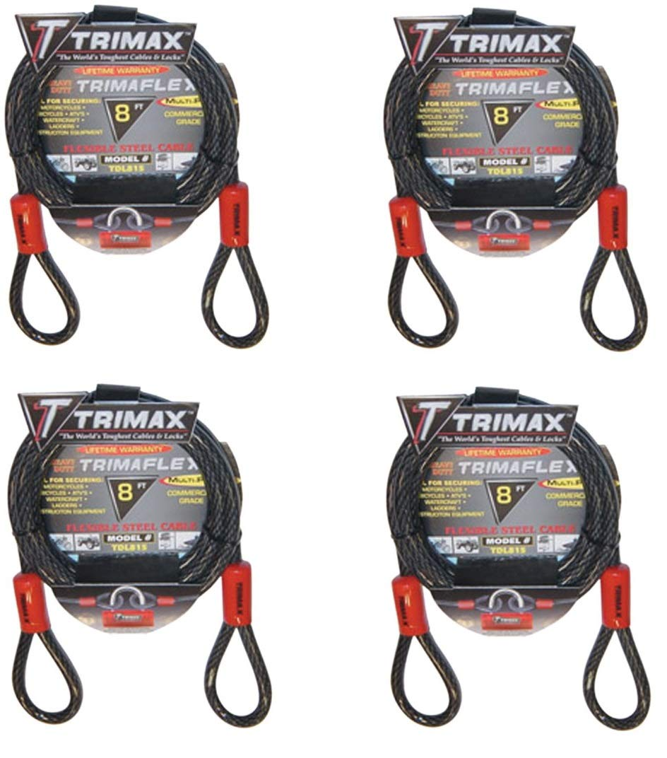 Trimax TDL815 Trimaflex 8' X 15mm Dual Loop Multi-Use Cable (8 - Feet X 15mm (Pack of 4)) by Trimax