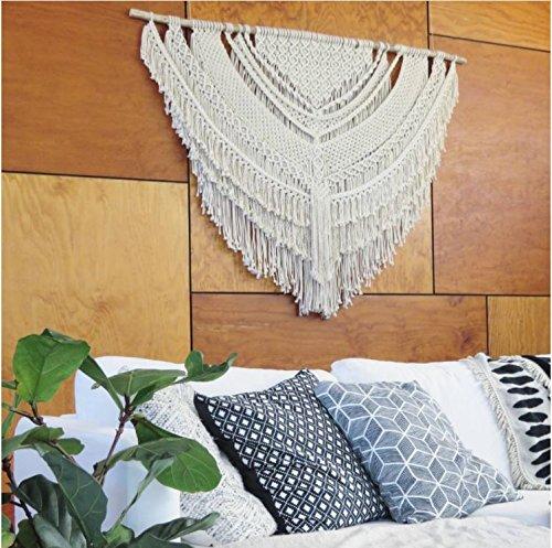 Macrame Wall Decor Hanging - Bohemian Home Geometric Art Decor - Beautiful Apartment Dorm Room Decoration-Macrame Curtain-Macrame Wedding Backdrop, W 40 x L 42 Inch