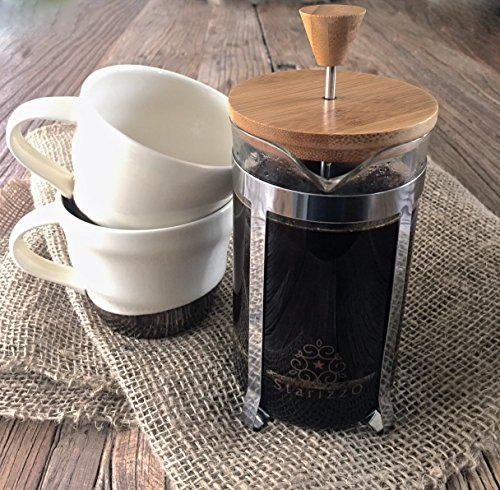 Starizzo French Press Coffee Maker For Home & Work, Travel, Camping, Tea, Cold Brew | Stylish Bamboo, BONUS Measuring Spoon, Compact Size 20oz | 600ml by Starizzo (Image #3)